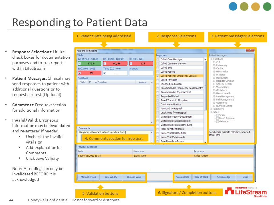 Honeywell Confidential – Do not forward or distribute 3. Patient Messages Selections2. Response Selections1. Patient Data being addressed 4. Comments