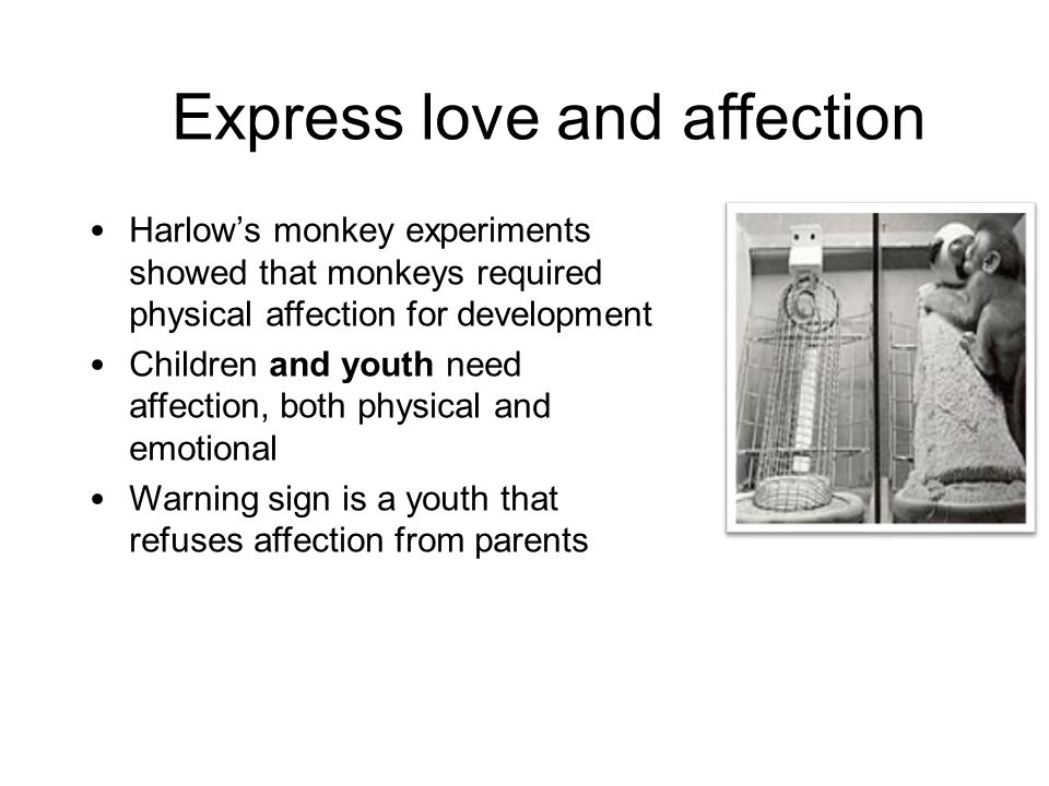 Express love and affection Harlow's monkey experiments showed that monkeys required physical affection for development Children and youth need affecti