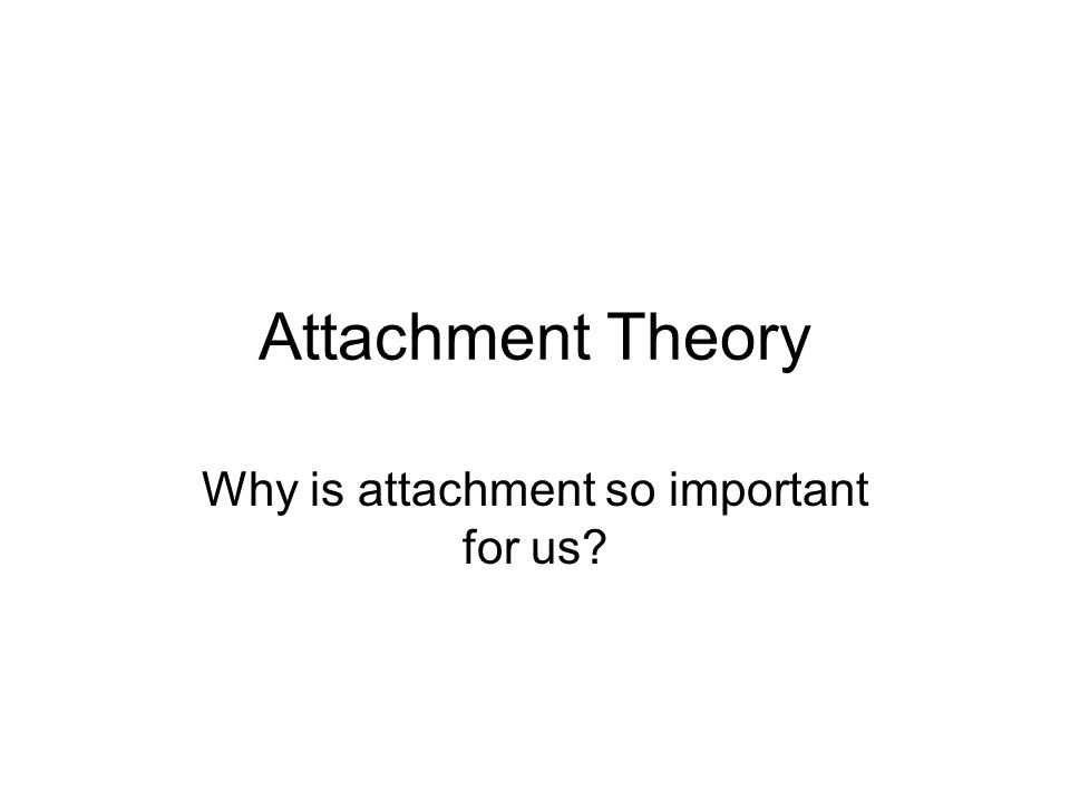 Attachment Theory Why is attachment so important for us?