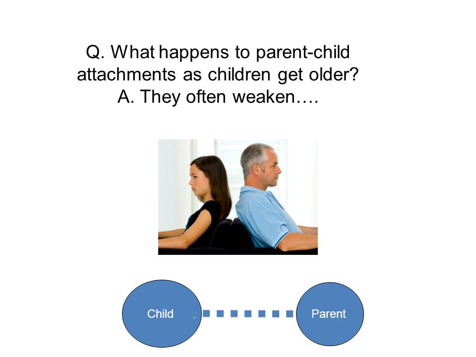 Q. What happens to parent-child attachments as children get older? A. They often weaken…. Parent Child