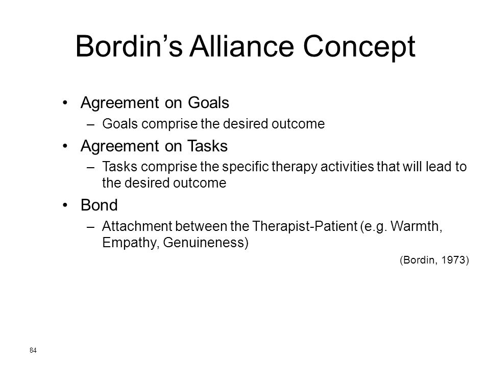 84 Bordin's Alliance Concept Agreement on Goals –Goals comprise the desired outcome Agreement on Tasks –Tasks comprise the specific therapy activities that will lead to the desired outcome Bond –Attachment between the Therapist-Patient (e.g.