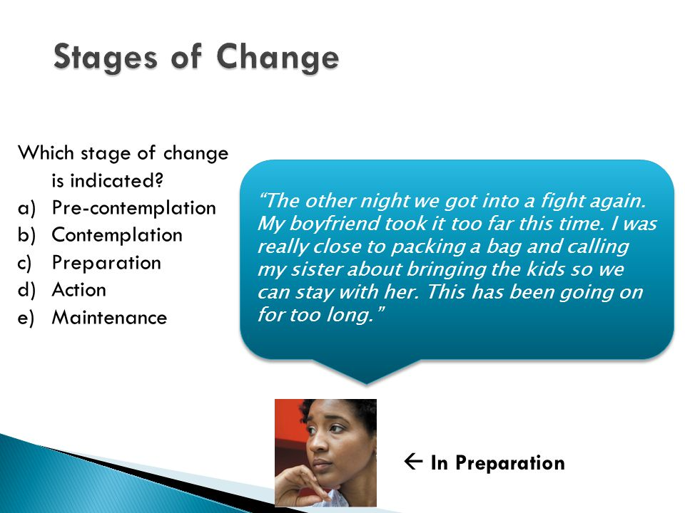 Which stage of change is indicated.