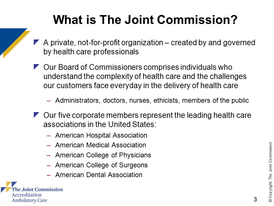 14 © Copyright, The Joint Commission TERMINOLOGY Generally Equivalent Labels:  Patient-Centered Medical Home  Health Care Home  Advanced Primary Care Practice  Primary Medical Care Home  Primary Care Home