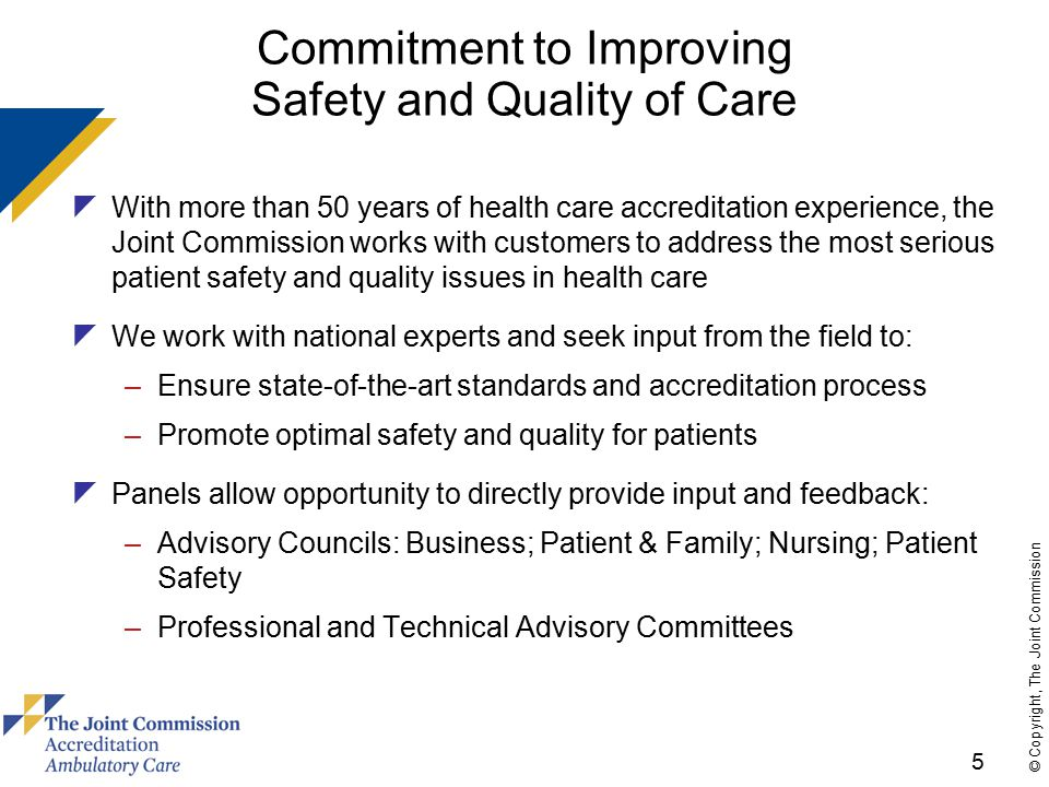 26 © Copyright, The Joint Commission Primary Care Home Operational Characteristic: Comprehensive Care (con't)  13 additional EPs proposed for PCH option –PCC/team provide or arrange for comprehensive/continuous care –PCC works with team to provide/coordinate care –Team members participate in developing treatment plan –PCC/team assess health risk behaviors –PCC is ultimately accountable for patient care –PCC has background/experience/knowledge to handle most patient medical needs & resolve conflicting care recommendations –Organization manages care transitions & provides/facilitates access to: acute care, chronic care, age/gender-specific preventive care; behavioral health needs; dental care (Note: OK to use/collaborate with community resources)