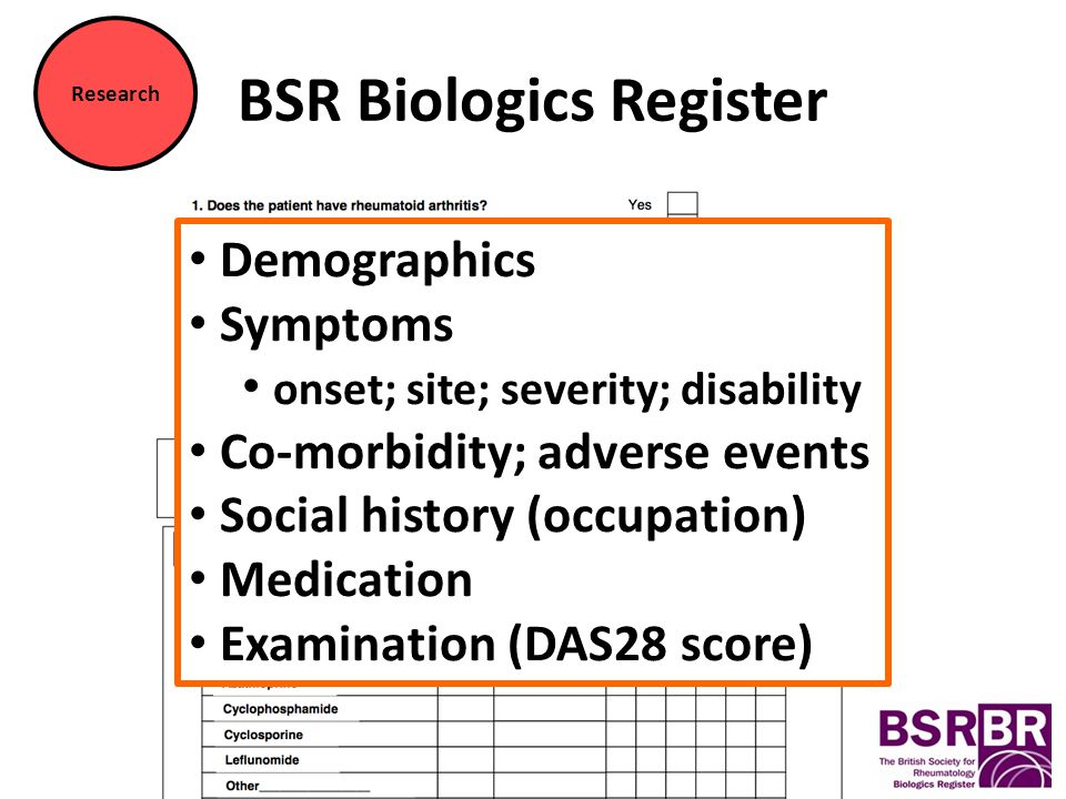 BSR Biologics Register Demographics Symptoms onset; site; severity; disability Co-morbidity; adverse events Social history (occupation) Medication Examination (DAS28 score) Research