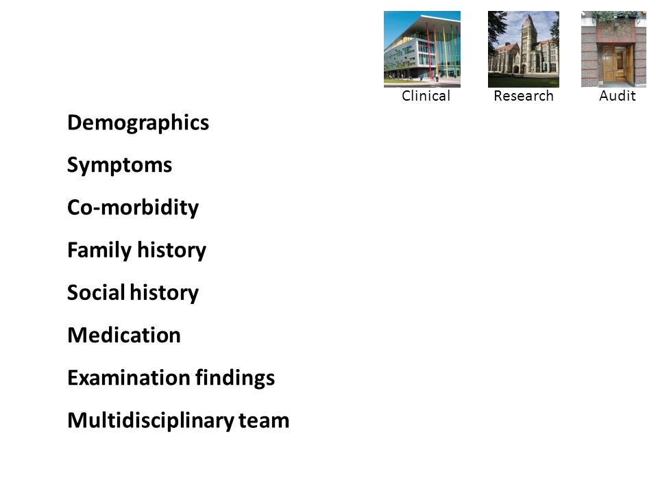 Demographics ✓✓✓ Symptoms ✓✓✓ Co-morbidity ✓✓ Family history ✓ Social history ✓✓ Medication ✓✓✓ Examination findings ✓✓✓ Multidisciplinary team ✓✓ Clinical ResearchAudit