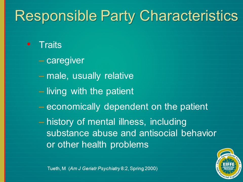 Responsible Party Characteristics Traits –caregiver –male, usually relative –living with the patient –economically dependent on the patient –history of mental illness, including substance abuse and antisocial behavior or other health problems Tueth, M (Am J Geriatr Psychiatry 8:2, Spring 2000)