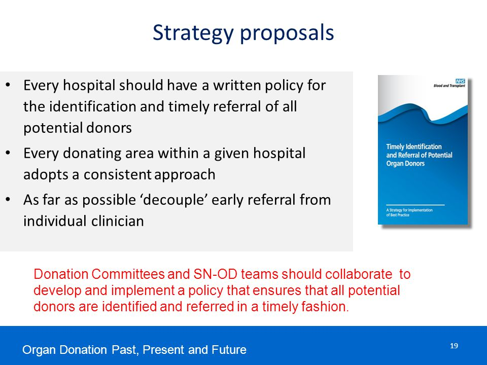 Strategy proposals Every hospital should have a written policy for the identification and timely referral of all potential donors Every donating area within a given hospital adopts a consistent approach As far as possible 'decouple' early referral from individual clinician Donation Committees and SN-OD teams should collaborate to develop and implement a policy that ensures that all potential donors are identified and referred in a timely fashion.