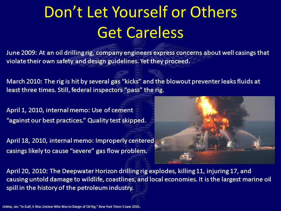 Don't Let Yourself or Others Get Careless June 2009: At an oil drilling rig, company engineers express concerns about well casings that violate their own safety and design guidelines.