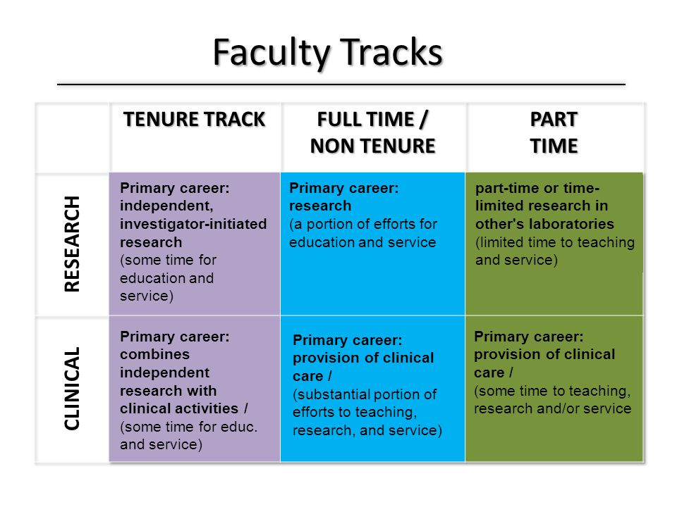 Faculty Tracks Primary career: independent, investigator-initiated research (some time for education and service) Primary career: combines independent research with clinical activities / (some time for educ.