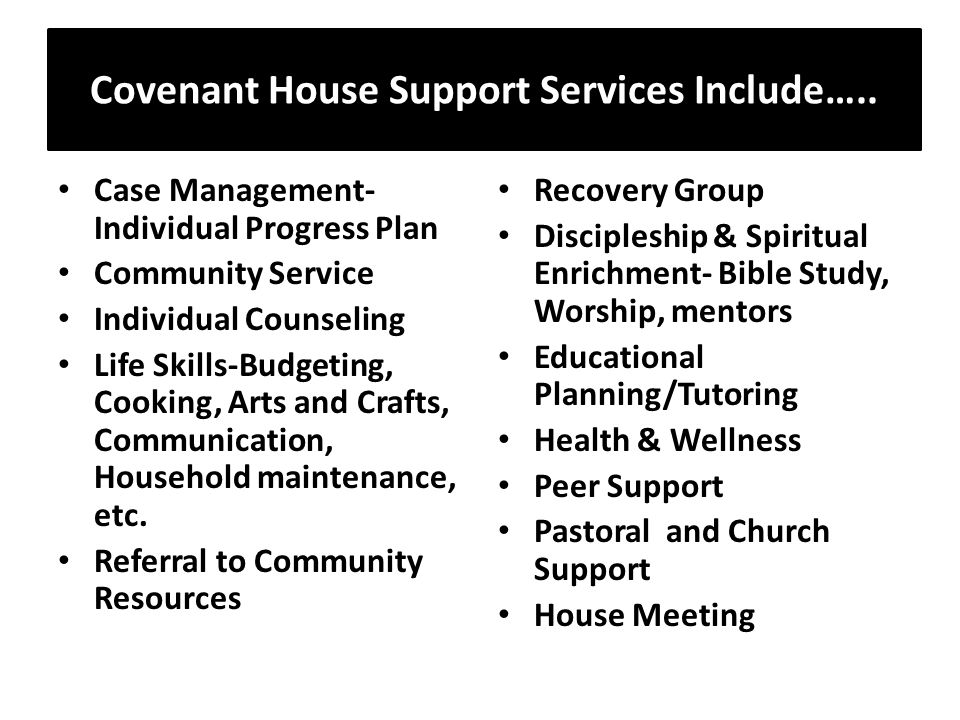 Covenant House Support Services Include…..