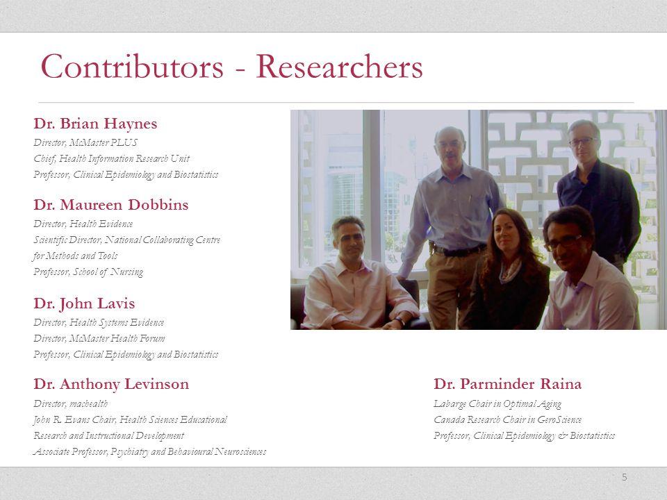 Contributors - Researchers Dr. Anthony LevinsonDr.