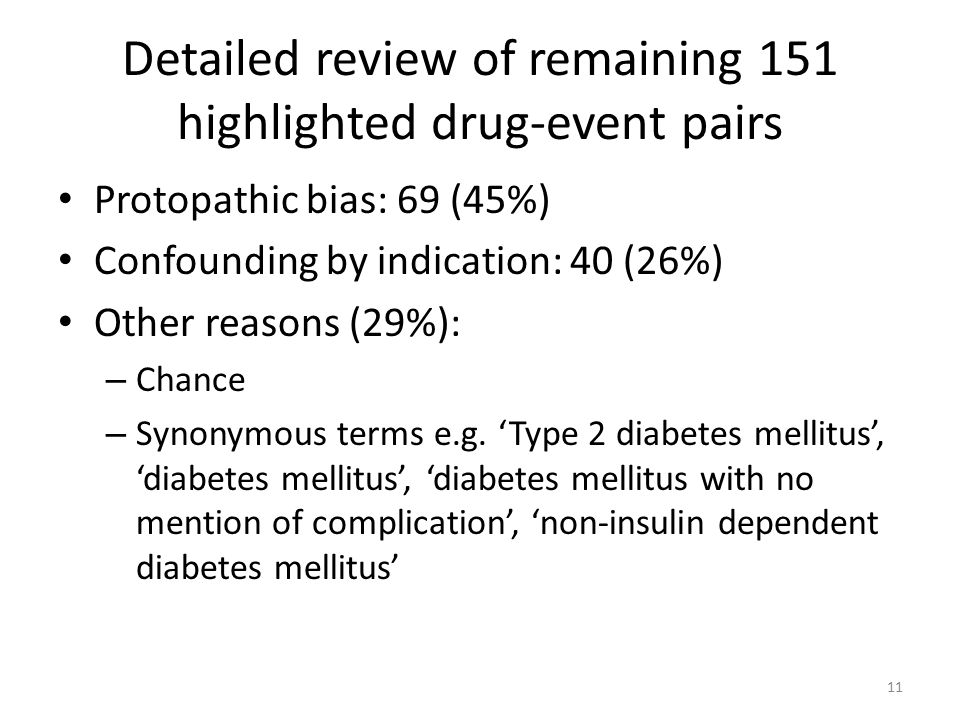 Detailed review of remaining 151 highlighted drug-event pairs Protopathic bias: 69 (45%) Confounding by indication: 40 (26%) Other reasons (29%): – Ch