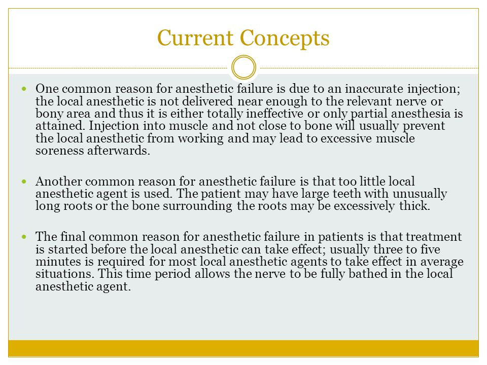 Current Concepts One common reason for anesthetic failure is due to an inaccurate injection; the local anesthetic is not delivered near enough to the