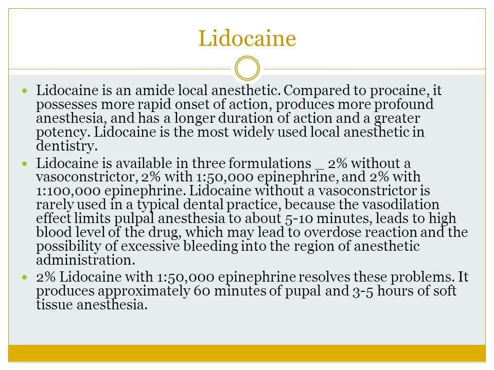 Lidocaine Lidocaine is an amide local anesthetic. Compared to procaine, it possesses more rapid onset of action, produces more profound anesthesia, an