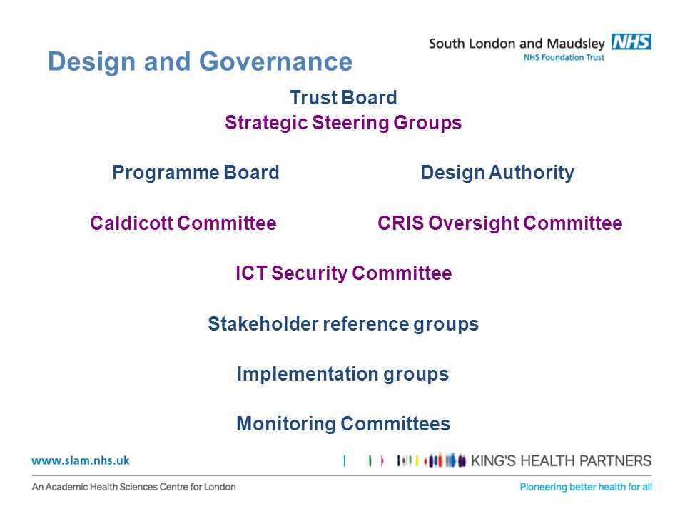 Design and Governance Trust Board Strategic Steering Groups Programme Board Design Authority Caldicott Committee CRIS Oversight Committee ICT Security