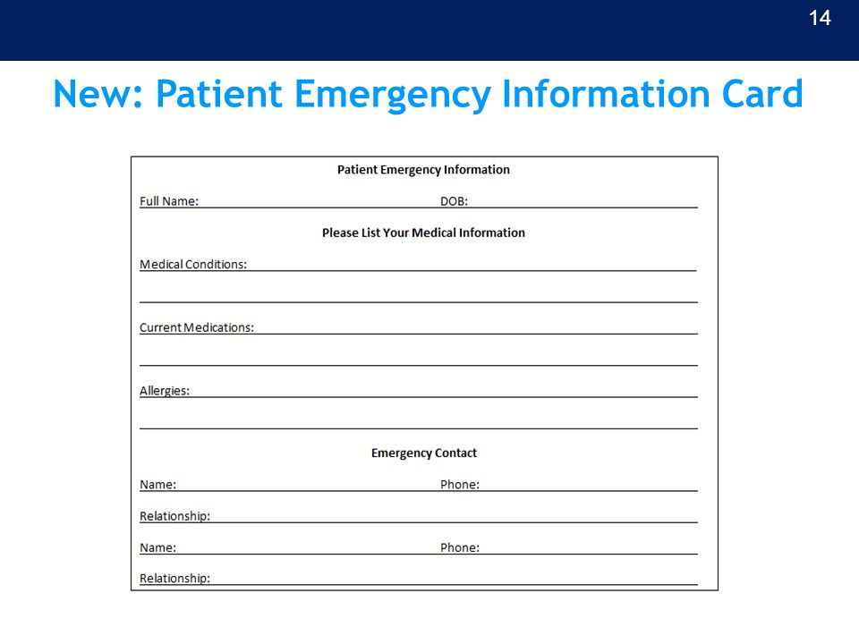 New: Patient Emergency Information Card 14