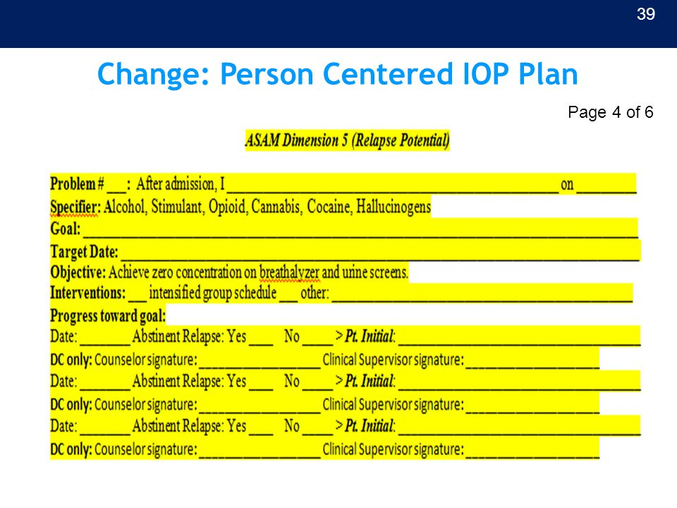 Change: Person Centered IOP Plan 39 Page 4 of 6
