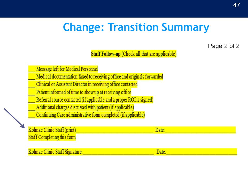 Change: Transition Summary 47 Page 2 of 2