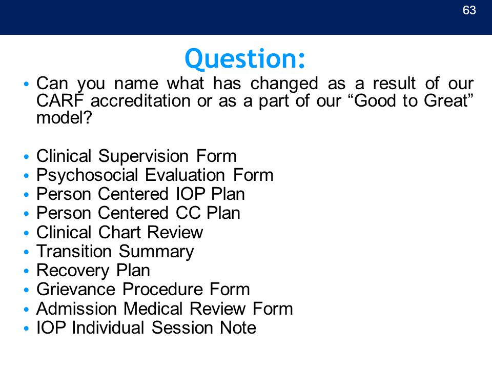 "Question: Can you name what has changed as a result of our CARF accreditation or as a part of our ""Good to Great"" model? Clinical Supervision Form Psy"