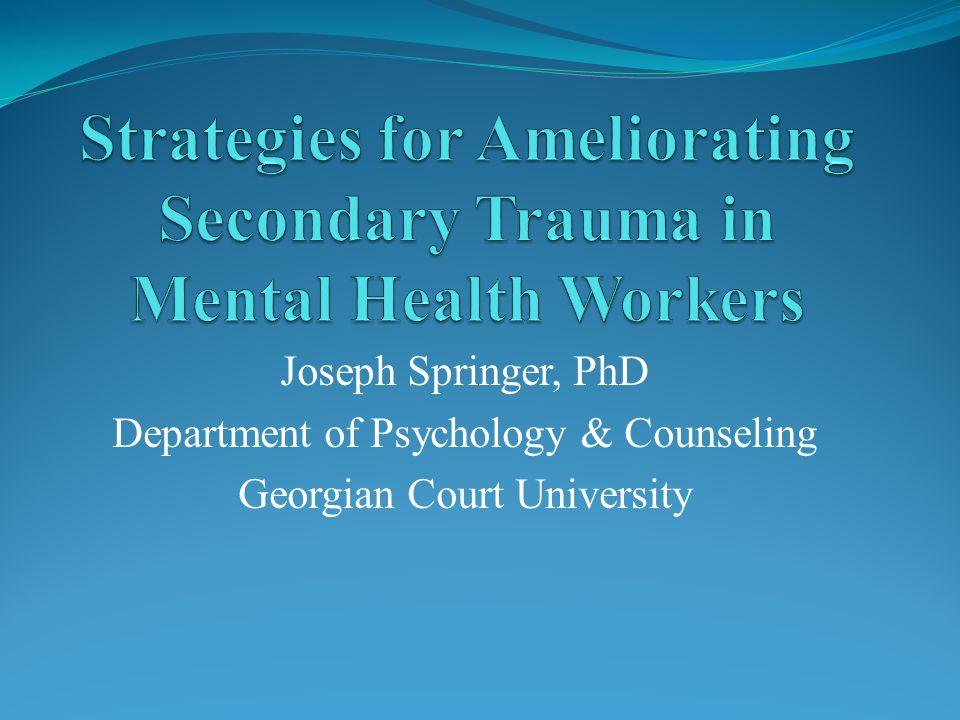Joseph Springer, PhD Department of Psychology & Counseling Georgian Court University