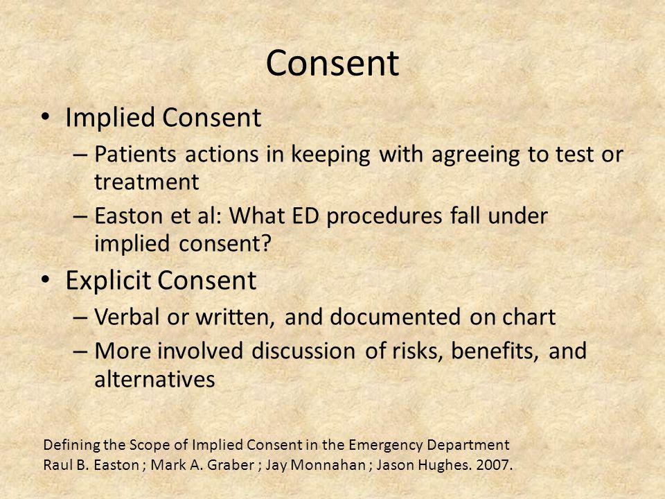 Consent Implied Consent – Patients actions in keeping with agreeing to test or treatment – Easton et al: What ED procedures fall under implied consent.
