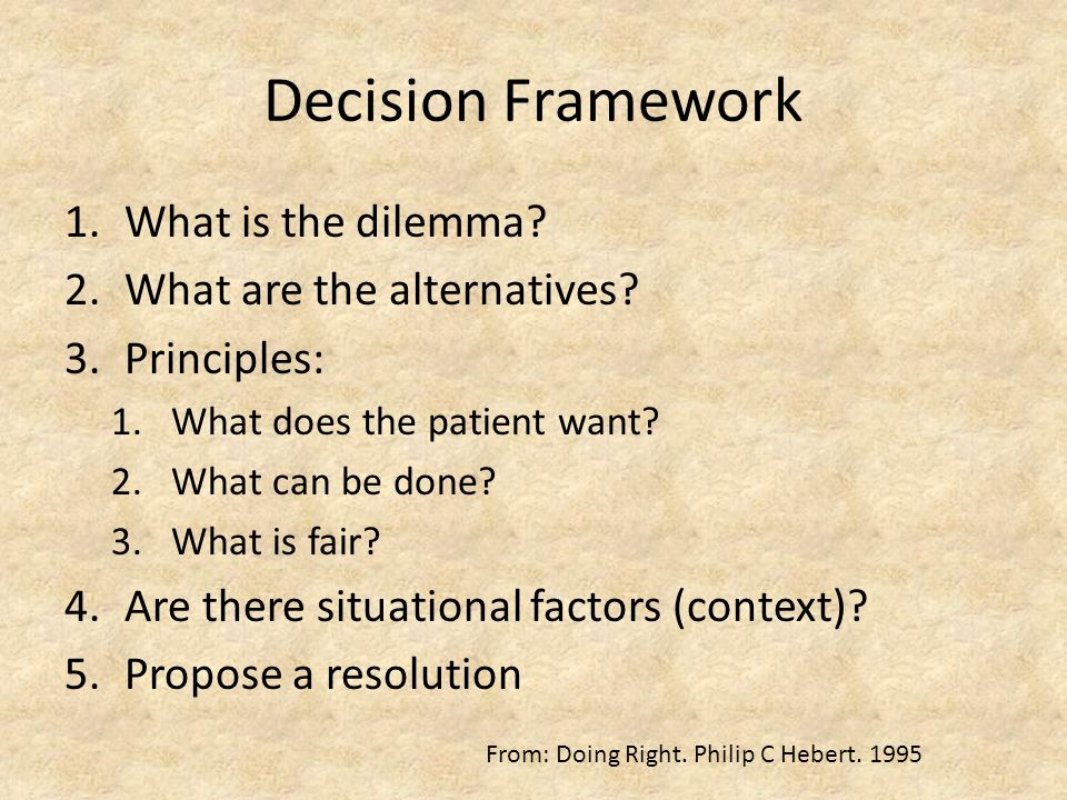 Decision Framework 1.What is the dilemma. 2.What are the alternatives.