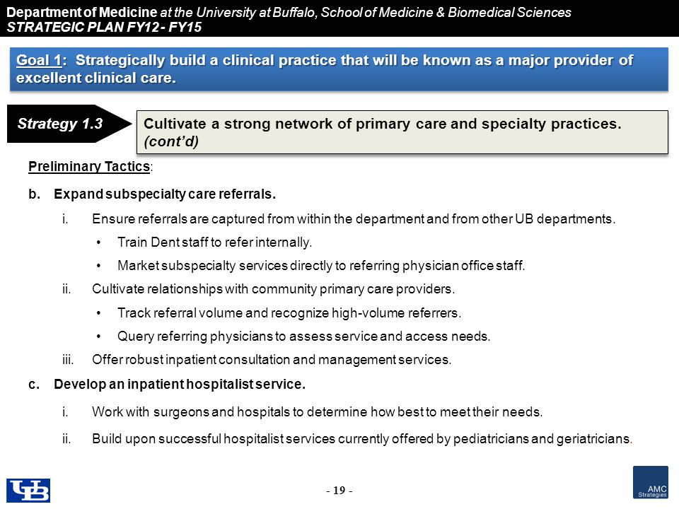 Department of Medicine at the University at Buffalo, School of Medicine & Biomedical Sciences STRATEGIC PLAN FY12 - FY15 - 19 - Strategy 1.3 Cultivate a strong network of primary care and specialty practices.