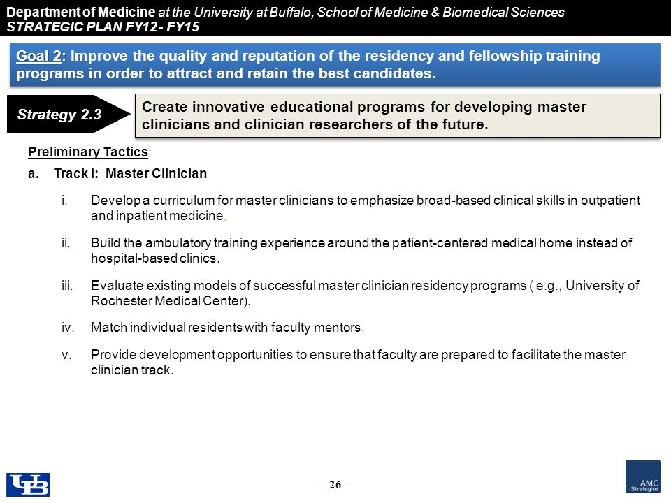 Department of Medicine at the University at Buffalo, School of Medicine & Biomedical Sciences STRATEGIC PLAN FY12 - FY15 - 26 - Strategy 2.3 Create innovative educational programs for developing master clinicians and clinician researchers of the future.