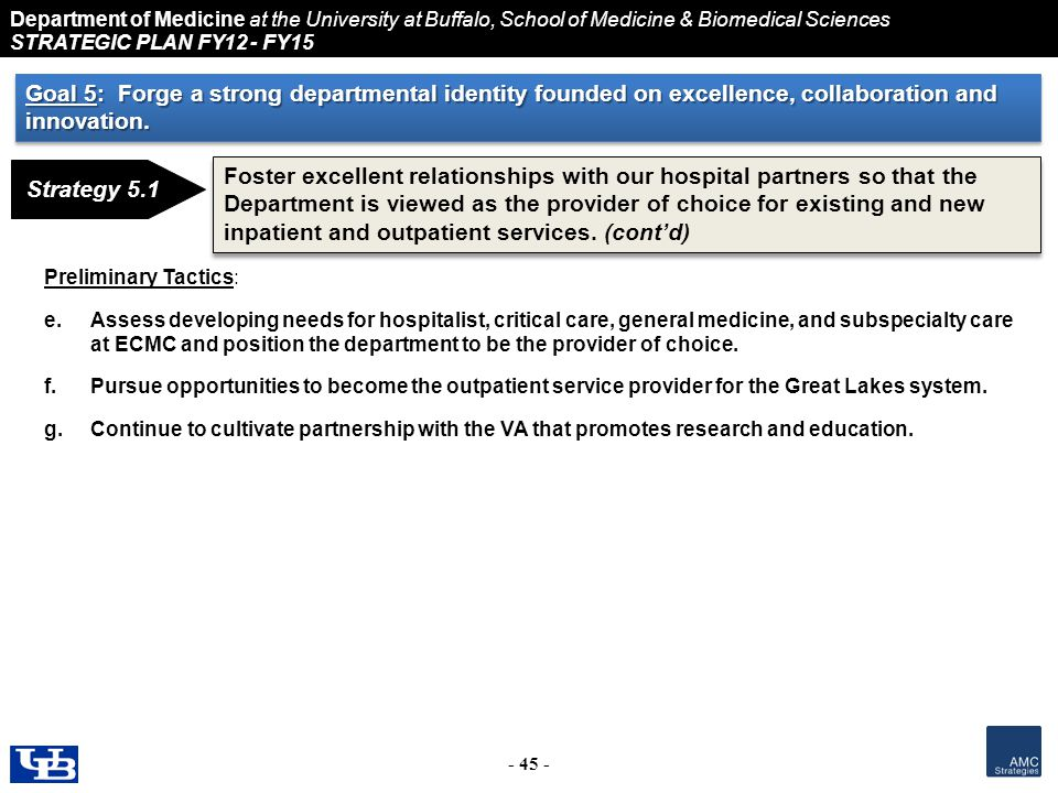 Department of Medicine at the University at Buffalo, School of Medicine & Biomedical Sciences STRATEGIC PLAN FY12 - FY15 - 45 - Strategy 5.1 Foster excellent relationships with our hospital partners so that the Department is viewed as the provider of choice for existing and new inpatient and outpatient services.