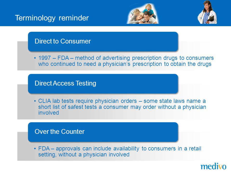 Terminology reminder 1997 – FDA – method of advertising prescription drugs to consumers who continued to need a physician's prescription to obtain the drugs Direct to Consumer CLIA lab tests require physician orders – some state laws name a short list of safest tests a consumer may order without a physician involved Direct Access Testing FDA – approvals can include availability to consumers in a retail setting, without a physician involved Over the Counter