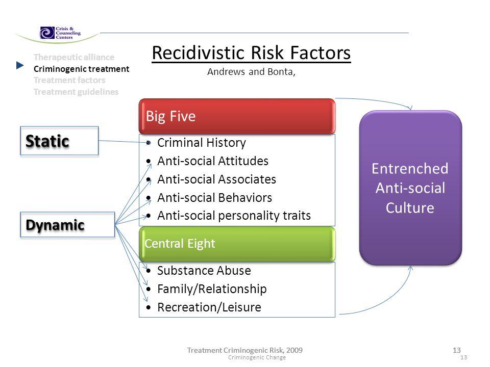 Treatment Criminogenic Risk, 200913Treatment Criminogenic Risk, 200913Treatment Criminogenic Risk, 200913 Therapeutic alliance Criminogenic treatment