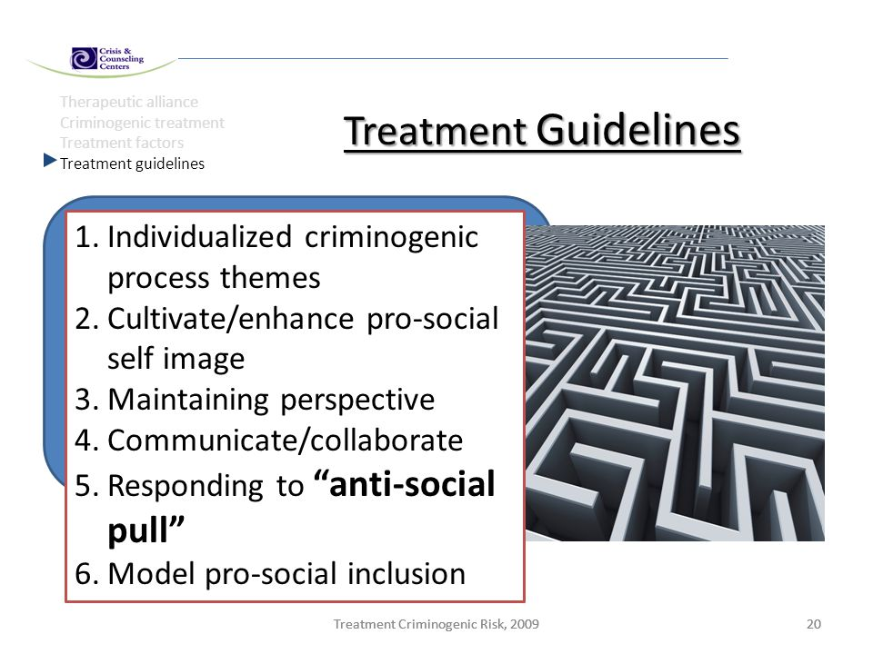 Treatment Criminogenic Risk, 200920Treatment Criminogenic Risk, 200920Treatment Criminogenic Risk, 200920 Therapeutic alliance Criminogenic treatment