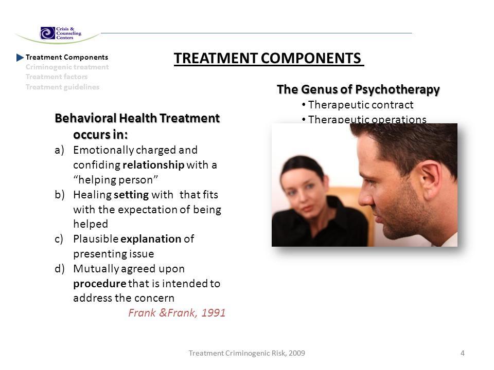 Treatment Criminogenic Risk, 20094 4 Treatment Components Criminogenic treatment Treatment factors Treatment guidelines TREATMENT COMPONENTS Behaviora