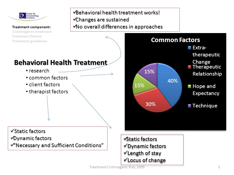 Treatment Criminogenic Risk, 20095 Treatment components Criminogenic treatment Treatment factors Treatment guidelines Behavioral Health Treatment research common factors client factors therapist factors Behavioral health treatment works.