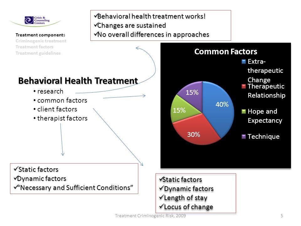 Treatment Criminogenic Risk, 20095 Treatment components Criminogenic treatment Treatment factors Treatment guidelines Behavioral Health Treatment rese