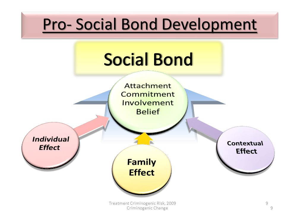 Treatment Criminogenic Risk, 20099 Pro- Social Bond Development 9Criminogenic Change