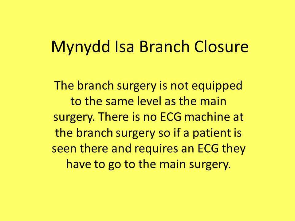 Mynydd Isa Branch Closure You can do this by emailing Mrs.