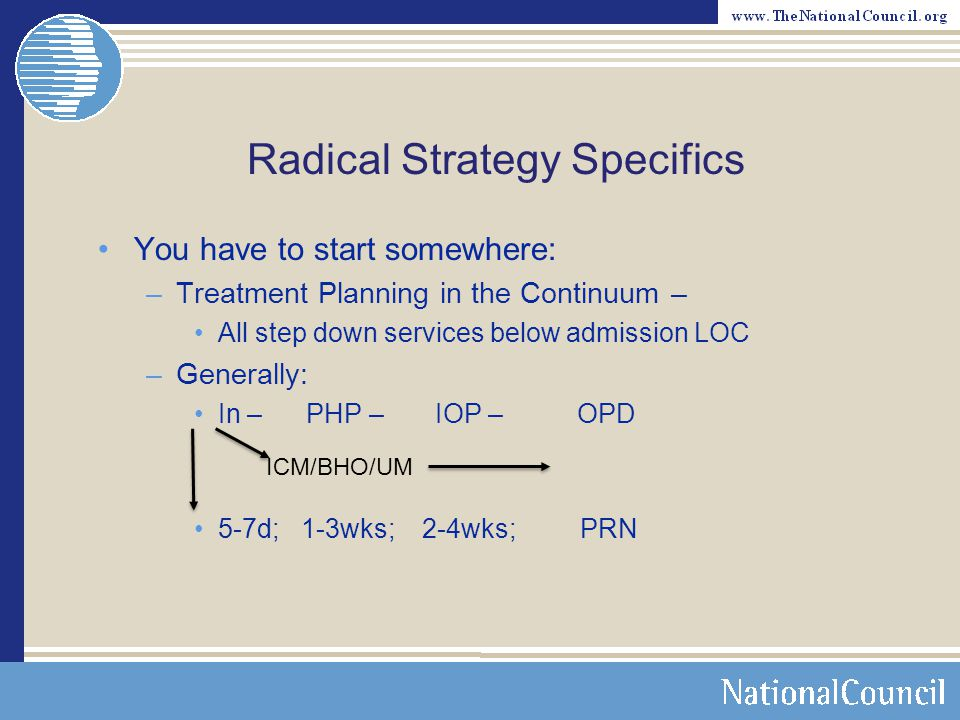 Radical Strategy Specifics You have to start somewhere: –Treatment Planning in the Continuum – All step down services below admission LOC –Generally: In – PHP – IOP – OPD 5-7d; 1-3wks; 2-4wks; PRN ICM/BHO/UM