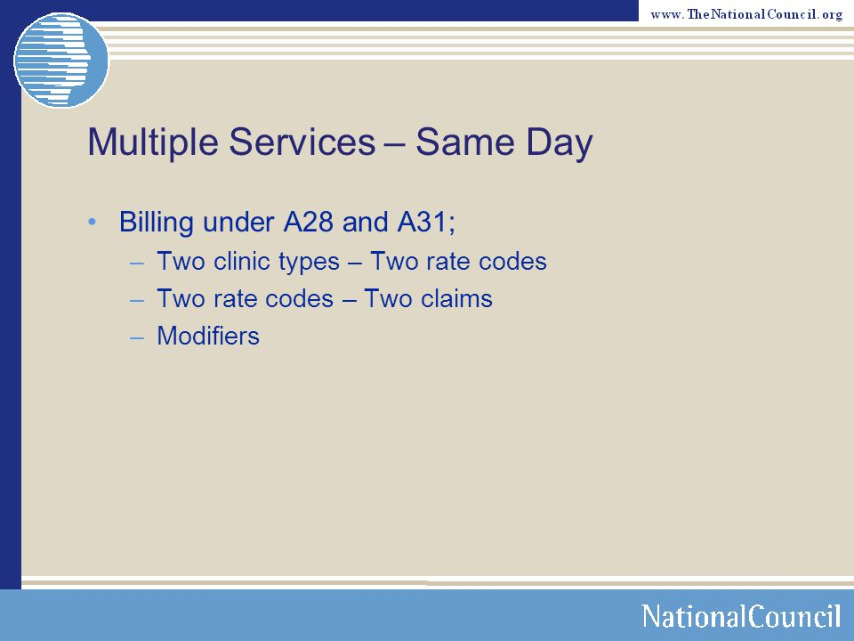 Multiple Services - Same Day When the service (1) is and (2) is not covered by Medicare: –Medicare Statutorily non-covered –Incident to –Add 59 to the original?
