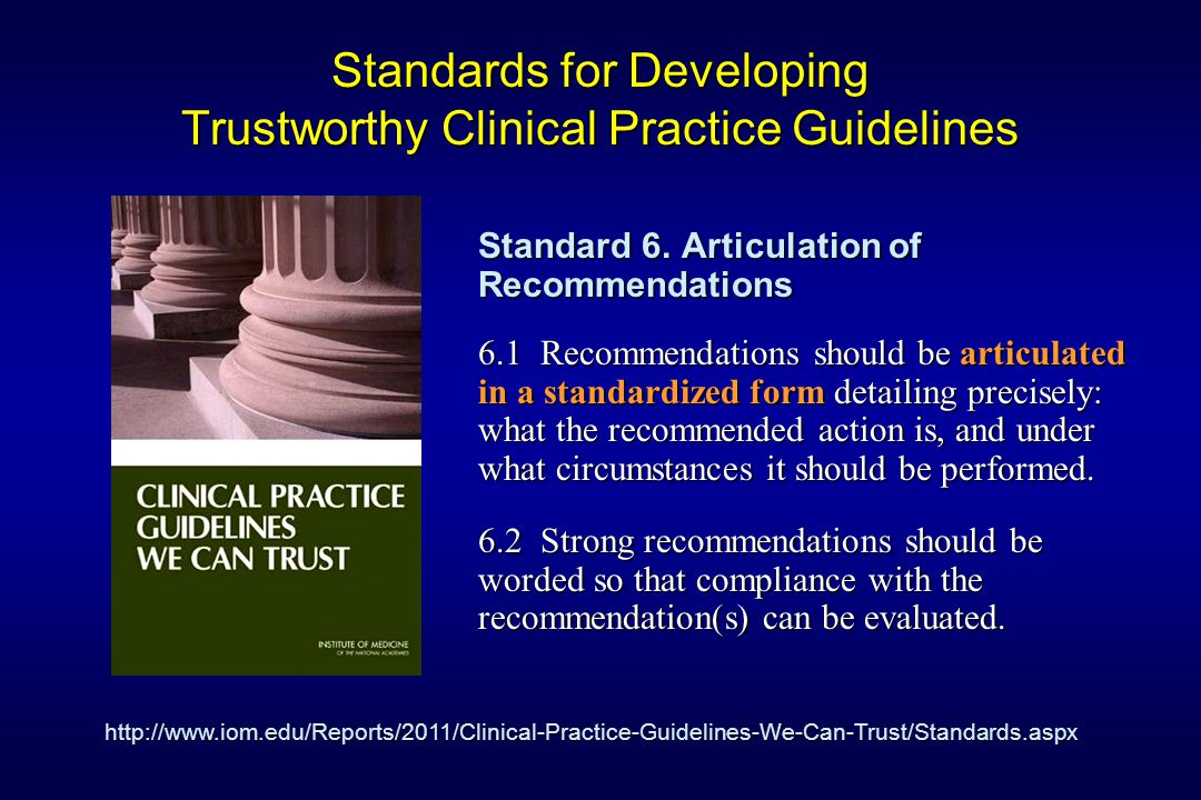 Standards for Developing Trustworthy Clinical Practice Guidelines Standard 6.