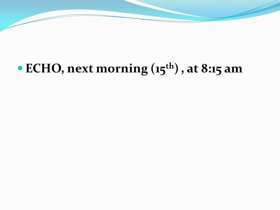 ECHO, next morning (15 th ), at 8:15 am