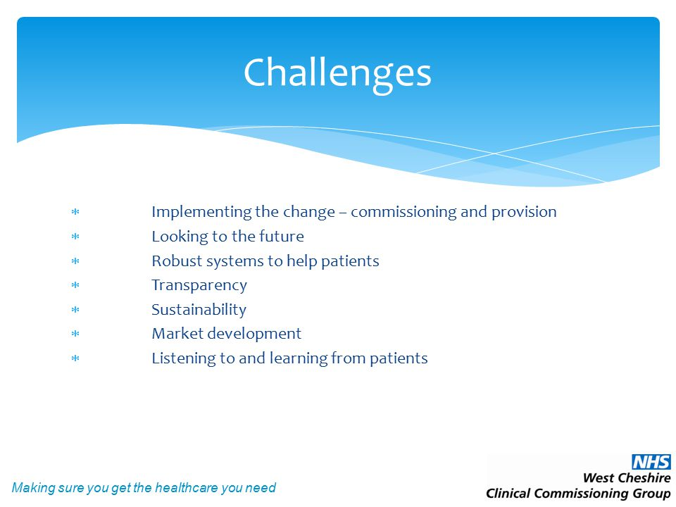 Making sure you get the healthcare you need  Implementing the change – commissioning and provision  Looking to the future  Robust systems to help patients  Transparency  Sustainability  Market development  Listening to and learning from patients Challenges