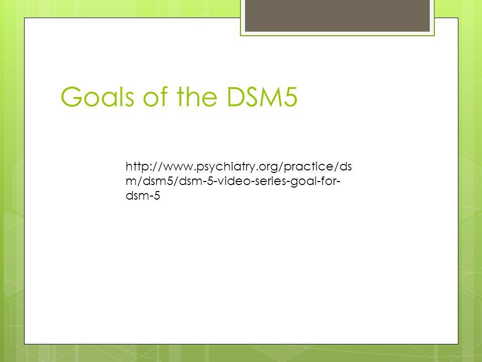 Goals of the DSM5 http://www.psychiatry.org/practice/ds m/dsm5/dsm-5-video-series-goal-for- dsm-5