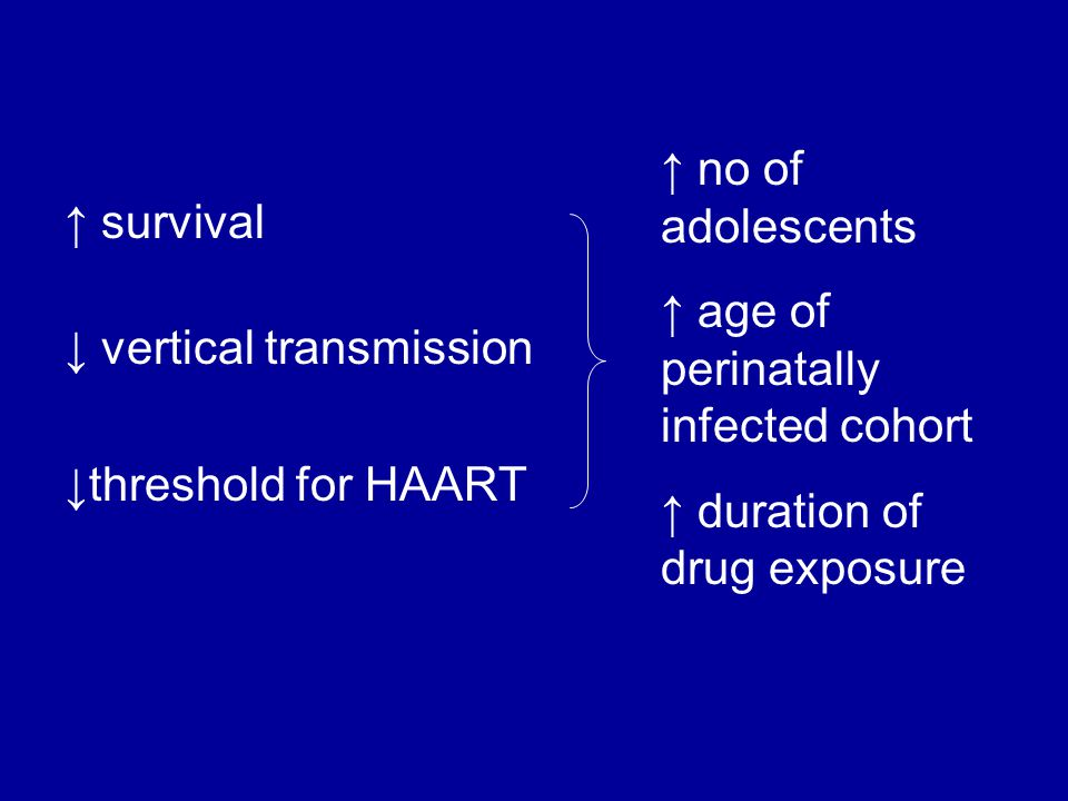 ↑ survival ↓ vertical transmission ↓threshold for HAART ↑ no of adolescents ↑ age of perinatally infected cohort ↑ duration of drug exposure