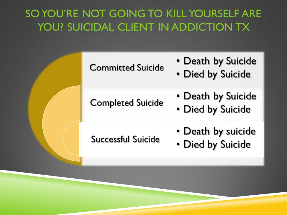 SO YOU'RE NOT GOING TO KILL YOURSELF ARE YOU? SUICIDAL CLIENT IN ADDICTION TX Committed Suicide Completed Suicide Successful Suicide Death by SuicideD