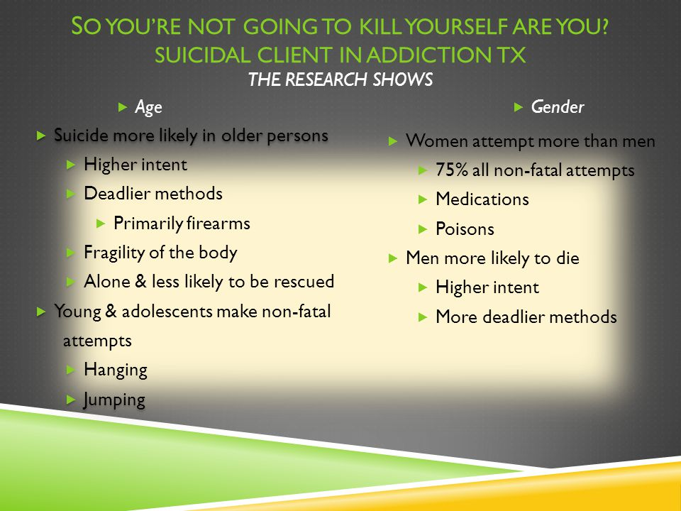 S O YOU'RE NOT GOING TO KILL YOURSELF ARE YOU? SUICIDAL CLIENT IN ADDICTION TX THE RESEARCH SHOWS  Suicide more likely in older persons  Higher inte
