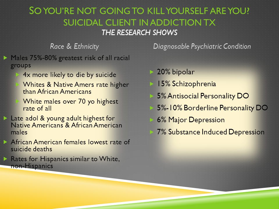 S O YOU'RE NOT GOING TO KILL YOURSELF ARE YOU? SUICIDAL CLIENT IN ADDICTION TX THE RESEARCH SHOWS Race & EthnicityDiagnosable Psychiatric Condition 