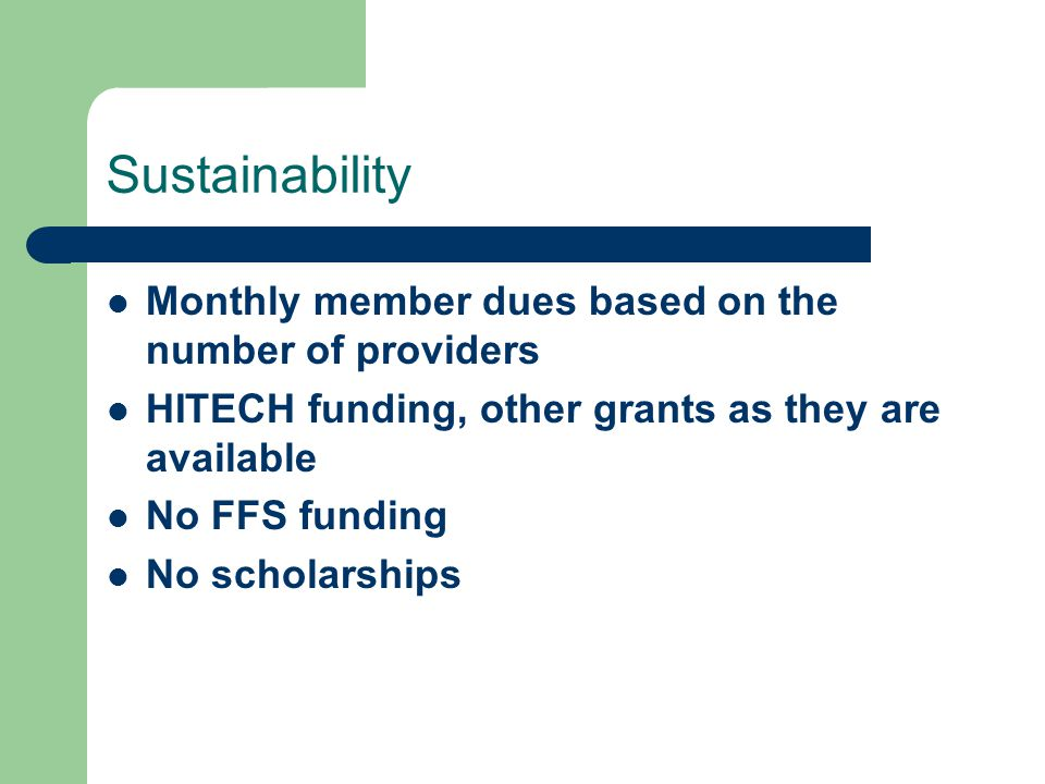 Sustainability Monthly member dues based on the number of providers HITECH funding, other grants as they are available No FFS funding No scholarships