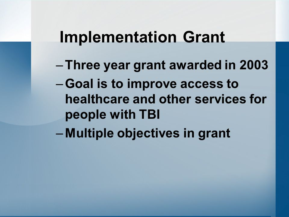 Implementation Grant –Three year grant awarded in 2003 –Goal is to improve access to healthcare and other services for people with TBI –Multiple objectives in grant